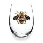 Jewelled Stemless Wine Glass- Bee
