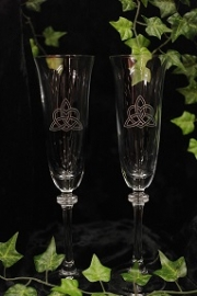 Celtic Heart & Trinity Champagne Flute (Pair)