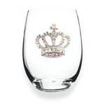 Jewelled Stemless Wine Glass - Crown